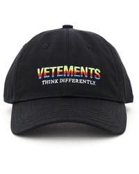 Vetements Baseball Cap Think Differently Logo - Black