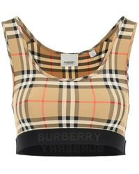 Burberry Dalby Check Sport Top - Natural
