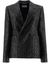 Saint Laurent Sequined Tweed Blazer - Black
