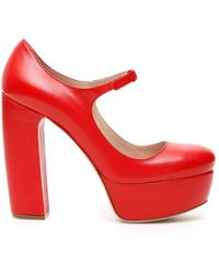 Miu Miu Platform Court Shoes - Red