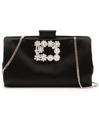 Roger Vivier Soft Flowers Clutch - Black