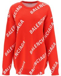 Balenciaga Oversized Jumper With Jacquard Logo - Red