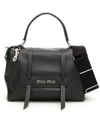 Miu Miu Logo Top Handle Tote Bag - Black