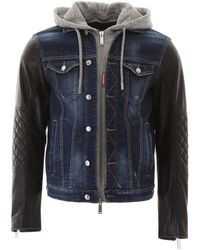 DSquared² Denim And Leather Jacket - Blue