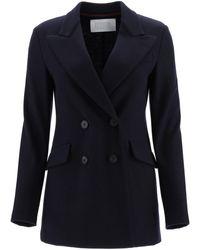 Harris Wharf London Double-breasted Jacket - Blue