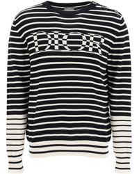 Dior Striped Sweater With Intarsia - Blue