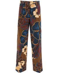 Dries Van Noten Floral Print Cotton Trousers - Multicolour