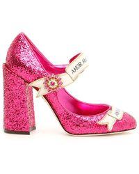 Dolce & Gabbana Slogan Glitter Mary Janes - Pink