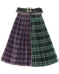 Chopova Lowena Pleated Split Skirt With Belt - Multicolour
