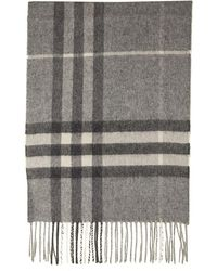 Burberry Classic Check Pattern Cashmere Scarf - Gray
