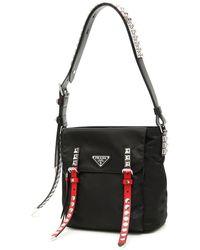 Prada Nylon Bucket Bag With Studs - Black