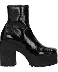 Miu Miu Ankle Boots Patent Leather - Black