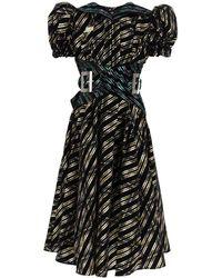 Chopova Lowena Midi Dress In Organza - Black
