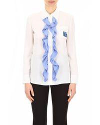 Prada Logo Detailed Ruched Silk Shirt - White