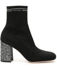 Miu Miu Glitter Sock Booties - Black