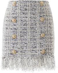 Balmain Fringed Tweed Mini Skirt - Multicolor