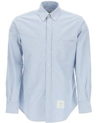 Thom Browne Shirt With Tricolor Band 1 Cotton - Blue