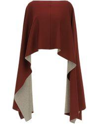 Valentino Asymmetric Poncho With Lurex - Red