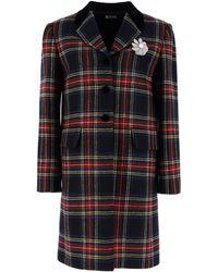 Miu Miu Shetland Tartan Coat - Black