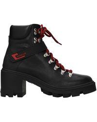 Moncler Ankle Boots Carol Leather - Black