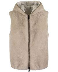 Brunello Cucinelli Reversible Vest With Hood Cashmere Goat Fur - Natural