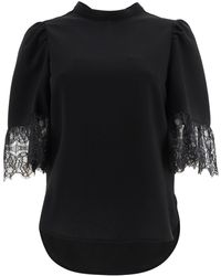 See By Chloé Blouse With Lace Sleeves 36 - Black