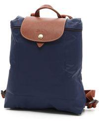 Longchamp Nylon And Leather Le Pliage Backpack - Blue