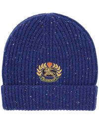 Burberry Beanie Hat With Logo Embroidery Os Wool,cashmere - Blue