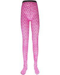 Versace La Greca Tulle Tights - Pink