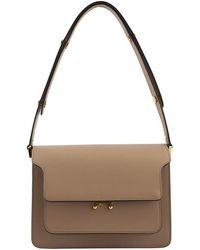 Marni Trunk Bag In Saffiano Leather - Brown