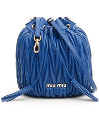 Miu Miu Quilted Bucket Bag - Blue