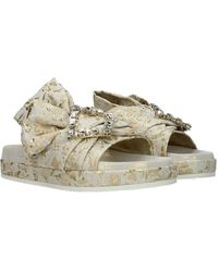Roger Vivier Slippers And Clogs Fabric - Natural
