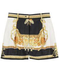 Versace Silk Shorts With Renaissance Medusa Print - Multicolour