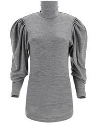 Isabel Marant Gavina Turtleneck Puff Sleeve Top - Black