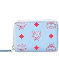 MCM Zipped Monogram Wallet - Blue