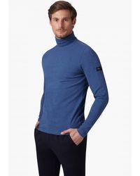 Cavallaro Napoli Heren Colbert - Baliani Roll Neck Longsleeves T-shirt - Indigo Blauw