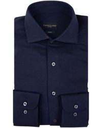 Cavallaro Napoli Heren Overhemd - Venerdi Overhemd - Donkerblauw