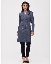 Cavallaro Napoli Women Jas - Perugia Coat - Blauw - 47% Linnen, 37% Katoen, 12% Viscose, 4% Polyamide