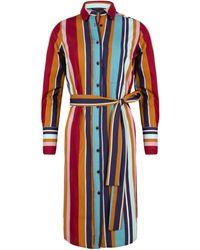 Cavallaro Napoli Dames Jurk - Lina Midi Shirt Dress - Blauw