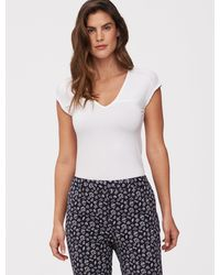 Cavallaro Napoli Dames T-shirt - Paulina Tee - Optical White - 95% Viscose 5% Elastaan - Wit