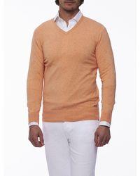 Cavallaro Napoli Men Pullover - Tomasso V-neck Pullover - Oranje