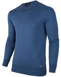 Cavallaro Napoli Heren Pullover - Marcello R-neck Pullover - Blauw