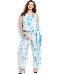 Calvin Klein Plus Size Tie-Dyed Jumpsuit - Lyst