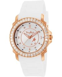 Thierry Mugler Womens White Rubber White Crystal Encrusted Bezel - Lyst