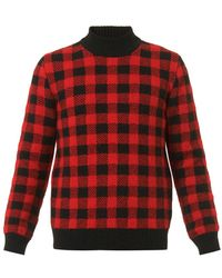 Saint Laurent Checked High-Neck Sweater - Lyst