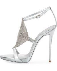 Giuseppe Zanotti Crystal Mesh Metallic Sandal - Lyst