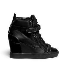 Giuseppe Zanotti 'Lorenz' Nappa Leather Wedge Sneakers - Lyst
