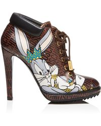 Moschino Looney Lace Up High Heel Booties - Multicolour