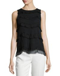 RED Valentino Contrast-Ruffle Sleeveless Top - Lyst