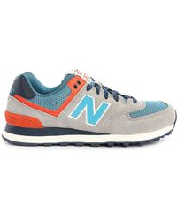 New Balance | beige Beige And Turquoise Suede And Mesh 574 Sneakers | Lyst